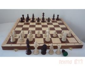 Staunton 6 in luxe doos uitklapbaar tot schaakbord Blank Hout met gratis dgt 1001 schaakklok