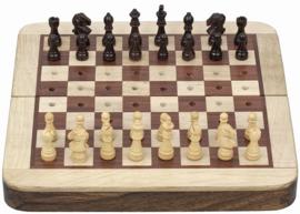 Uitklapbaar rosewood reisschaakspel met insteek schaakstukken