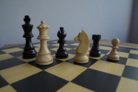 Klassiek staunton zwarte schaakstukken op Antwerpen 55 bord