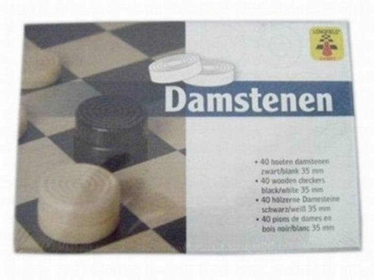 Damstenen zwart/blank in doosje, 35 mm