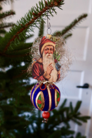 Oude antieke kerstman oude kerstbal victoriaanse kerst