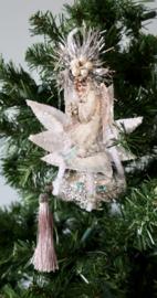 Victoriaanse kerst engel op zeppelin zilver