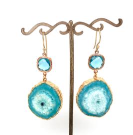 Oorbellen Turquoise Agaat L