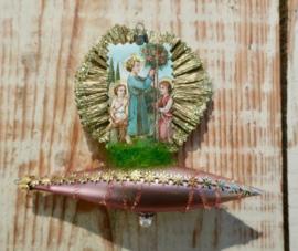 Victoriaans kerst ornament kindje Jezus op Zeppelin met engelen
