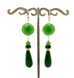 Oorbellen groene Jade