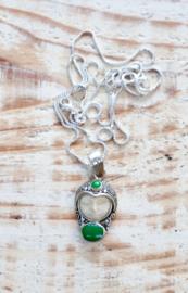 Antieke 925 zilveren Sajen hanger Jade en zilveren ketting