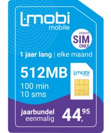L-mobi Jaarbundel  512MB, 100 min, 10 sms