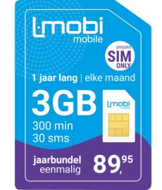 L-mobi Jaarbundel  3GB, 300 min, 30 sms