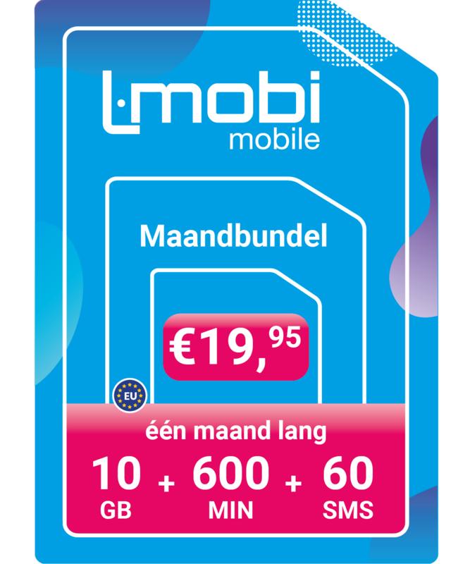 L-mobi Maandbundel  10GB, 600 min, 60 sms