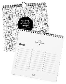Verjaardagskalender zwart wit | vierkant