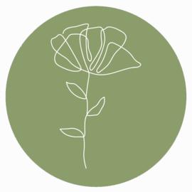 Muurcirkel groen witte bloem