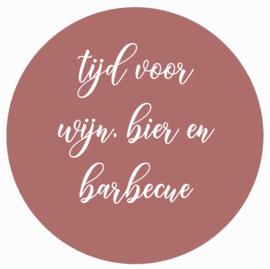 Muurcirkel roze tijd voor wijn, bier