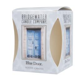 Votive candle blue door