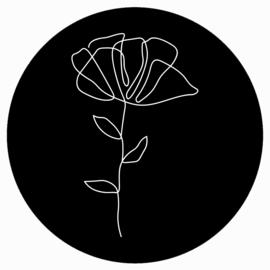 Muurcirkel zwart witte bloem