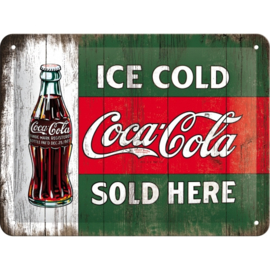Tin Sign 15 x 20 cm Coca/Cola / Vintage Evergreen / Ice Cold Bottle