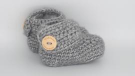 Gehaakte baby boots antraciet
