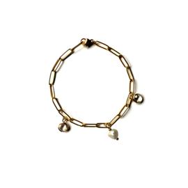 Goud normaal drie hangers parel