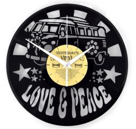 Vinyl clock LOVE & PEACE