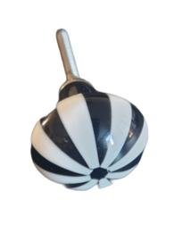Kastknopje gestreept - zwart/wit