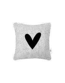 Wit buitenkussen met hart en dots patroon l 40x40cm