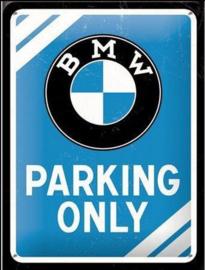Tin Sign 15 x 20 cm BMW Parking Only Blue