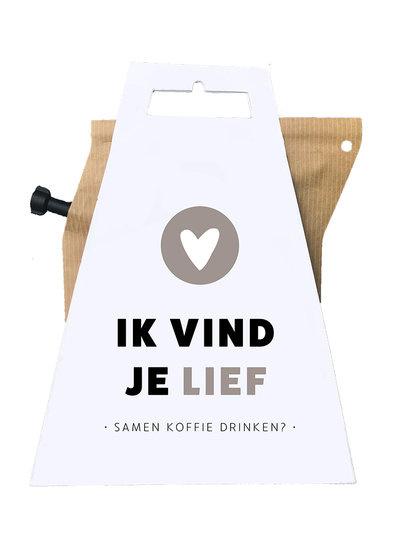 Wenskaart met coffee brewer- Ik vind je lief samen koffie drinken?