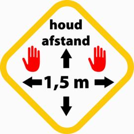 Sticker 'houd afstand' 30x30 cm (set van 5)