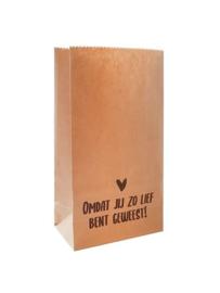 Kraft papieren zakken bruin - Omdat jij zo lief bent geweest