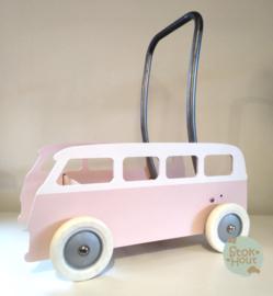 """Loopkarretje """"VW busje"""" (bijv. licht roze) (ST086)"""
