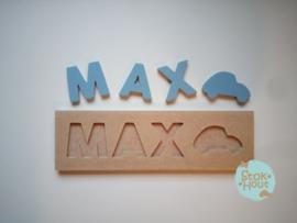 Naampuzzel 0-5 letters. Bijv. 'Max - zacht blauw'