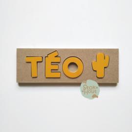 Naampuzzel 0-5 letters. Bijv. 'Téo - zonnebloem geel'