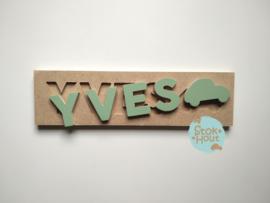 Naampuzzel 0-5 letters. Bijv. 'yves - vintage groen'