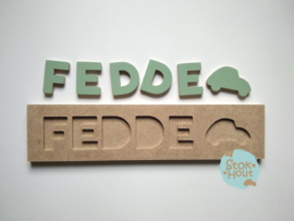 Naampuzzel 0-5 letters. Bijv. 'Fedde - vintage groen'