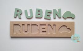 Naampuzzel 0-5 letters. Bijv. 'Ruben - vintage groen'