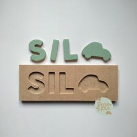 Naampuzzel 0-5 letters. Bijv. 'Sil - vintage groen'