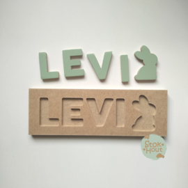 Naampuzzel 0-5 letters. Bijv. 'Levi - vintage groen'
