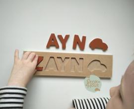 Naampuzzel 0-5 letters. Bijv. 'Zayn - bruin'