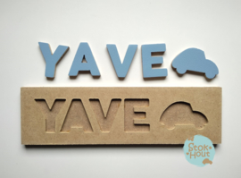 Naampuzzel 0-5 letters. Bijv. 'yave - zacht blauw'