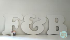 Gastenboekletters (2 letters + figuur) Bijv. Wit