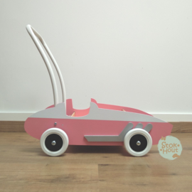 "Loopkarretje ""Retro Racewagen"" (seventies roze) (ST182)"