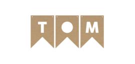 MDF vlaggetjes, voorbeeld 'tom'