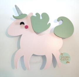 50cm groot 2,5D figuur Eenhoorn (bijvoorbeeld zacht roze - vintage groen) TM015
