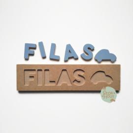 Naampuzzel 0-5 letters. Bijv. 'Filas - zacht blauw'