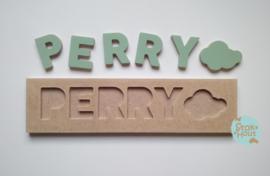 Naampuzzel 0-5 letters. Bijv. 'Perry - vintage groen'