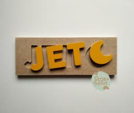 Naampuzzel 0-5 letters. Bijv. 'Jet - Zonnebloem geel'