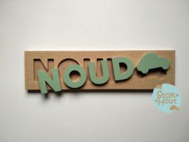 Naampuzzel 0-5 letters. Bijv. 'Noud - vintage groen'
