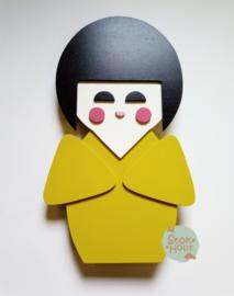 50cm groot 2,5D figuur Kokeshi / Gelukspopje (bijvoorbeeld Retro geel) TM018