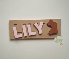 Naampuzzel 0-5 letters. Bijv. 'Lily - zacht roze'