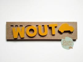Naampuzzel 0-5 letters. Bijv. 'Wout - zonnebloem geel'