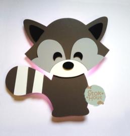 50cm groot 2,5D figuur Wasbeer (bijvoorbeeld Muisgrijs en licht grijs) TM019